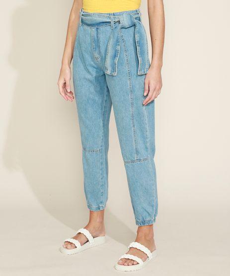 Calca-Jeans-Feminina-Jogger-Cintura-Media-com-Faixa-para-Amarrar-Azul-Claro-9971597-Azul_Claro_1