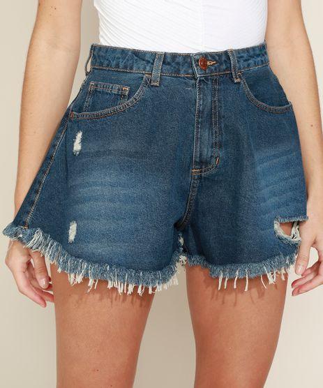 Short-Jeans-Feminino-Gode-Cintura-Super-Alta-Destroyed-com-Barra-Desfiada-Azul-Medio-9974816-Azul_Medio_1
