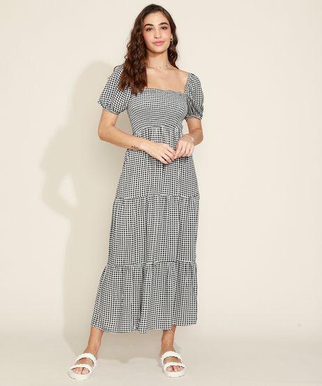 Vestido-Feminino-Longo-Estampado-Xadrez-Vichy-com-Lastex-e-Recortes-Manga-Bufante-Preto-9974676-Preto_1