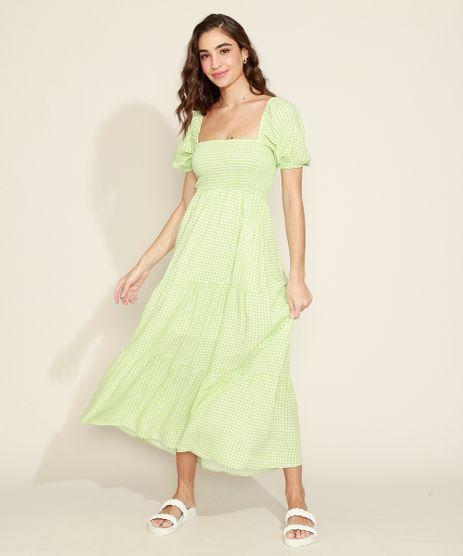 Vestido-Feminino-Longo-Estampado-Xadrez-Vichy-com-Lastex-e-Recortes-Manga-Bufante-Verde-9974676-Verde_1