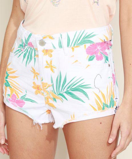 Short-de-Sarja-Feminino-Cintura-Media-Estampado-Floral-com-Barra-Desfiada-Branco-9968867-Branco_1