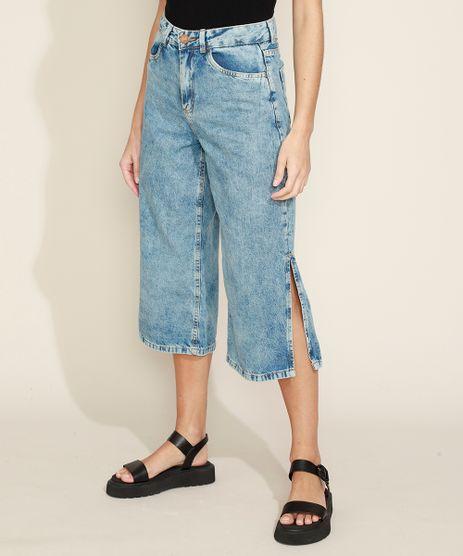 Calca-Jeans-Feminina-Pantacourt-Cintura-Media-com-Fenda-Azul-Claro-9971598-Azul_Claro_1