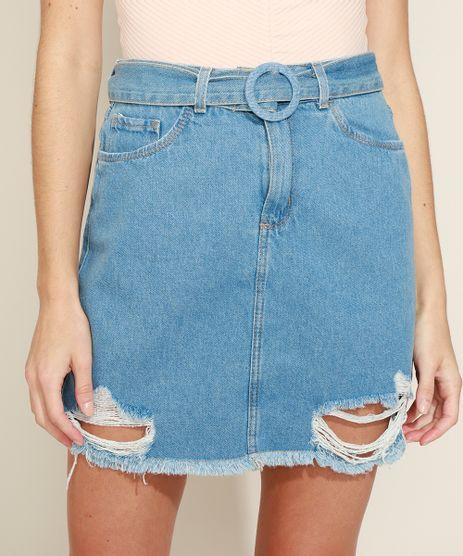 Saia-Jeans-Feminina-Curta-Destroyed-com-Cinto-Azul-Claro-9971594-Azul_Claro_1