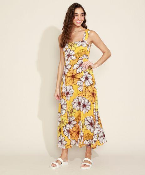 Vestido-Feminino-Longo-Estampado-Floral-com-Fenda-Alca-Larga-Amarelo-9967251-Amarelo_1