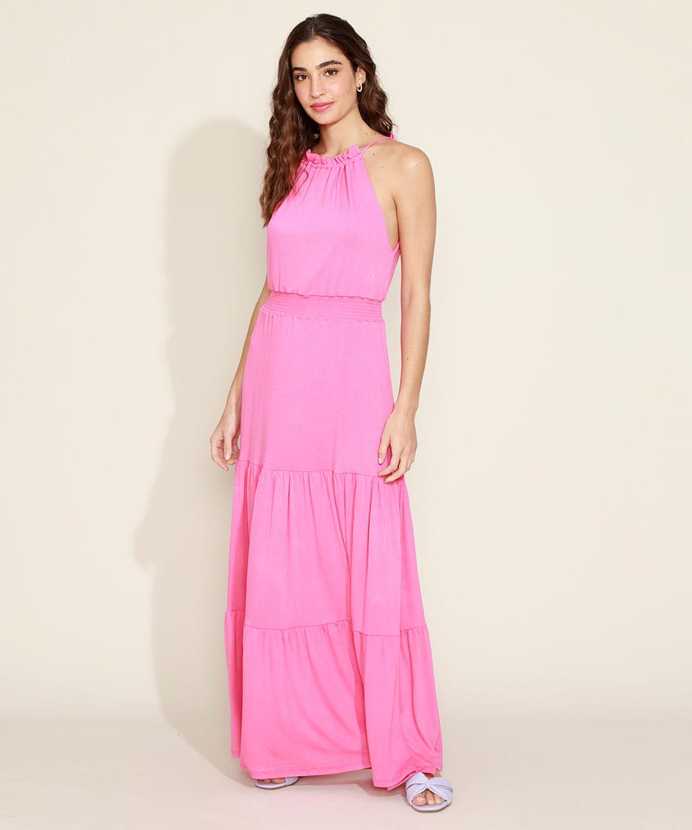 Vestido Feminino Longo Halter Neck com Recortes Pink