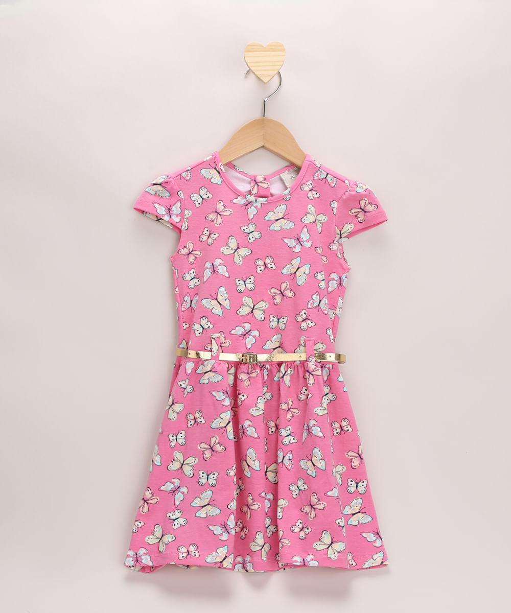 Vestido Infantil Estampado de Borboletas Manga Curta com Cinto Rosa