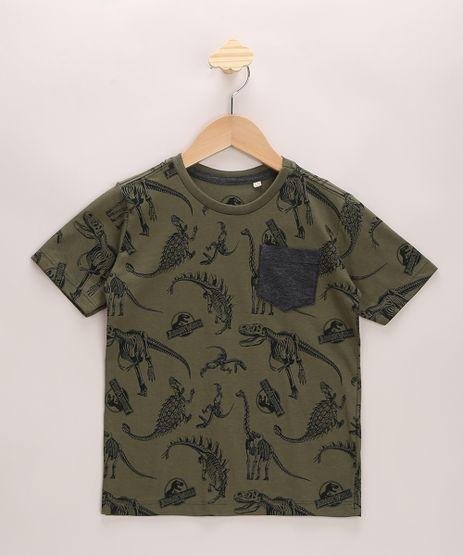 Camiseta-Infantil-Jurassic-Park-Estampado-com-Bolso-Manga-Curta-Gola-Careca-Verde-Militar-9967029-Verde_Militar_1
