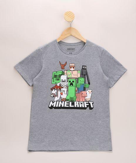 Camiseta-Infantil-Minecraft-Manga-Curta-Gola-Careca-Cinza-Mescla-9970110-Cinza_Mescla_1