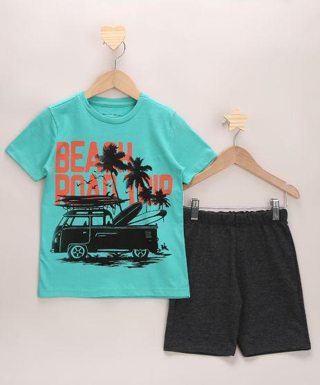 Conjunto-Infantil-de-Camiseta-Manga-Curta-Verde---Bermuda-de-Moletom-Cinza-Mescla-Escuro-9968196-Cinza_Mescla_Escuro_1
