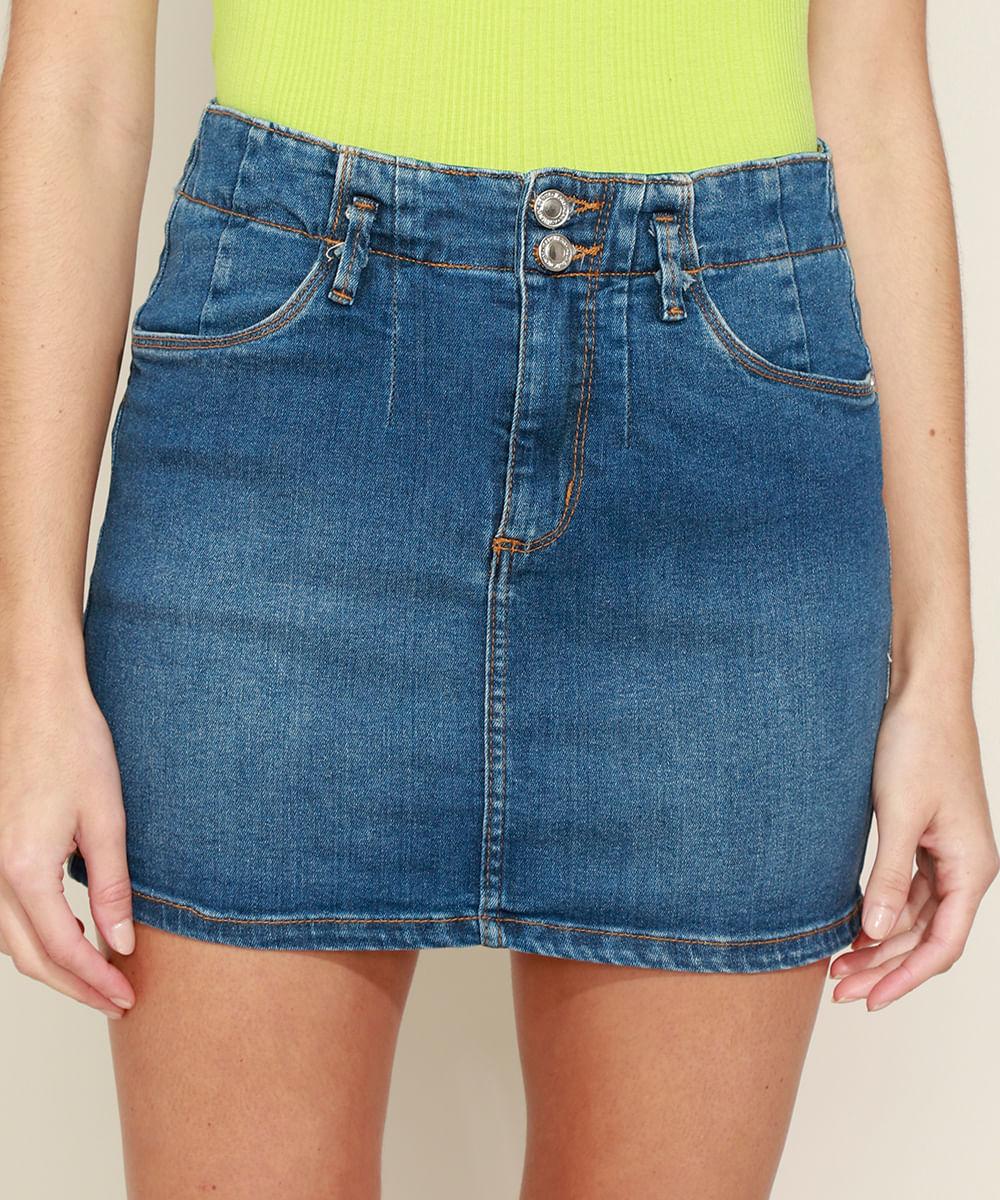 Saia Jeans Feminina Curta com Recorte Azul Escuro