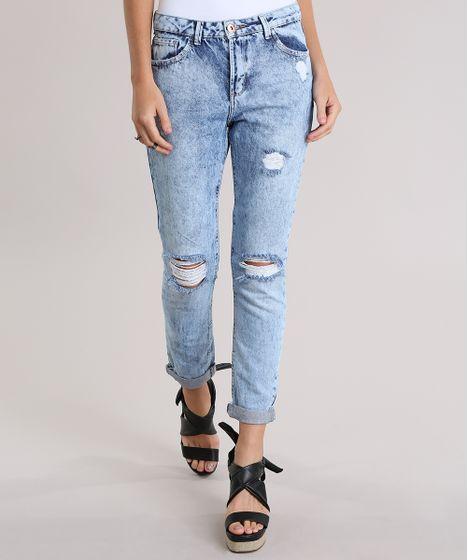 9b8b8e5e54835 Calca-Jeans-Boyfriend-Destroyed-Azul-Claro-8832722-Azul Claro 1 ...