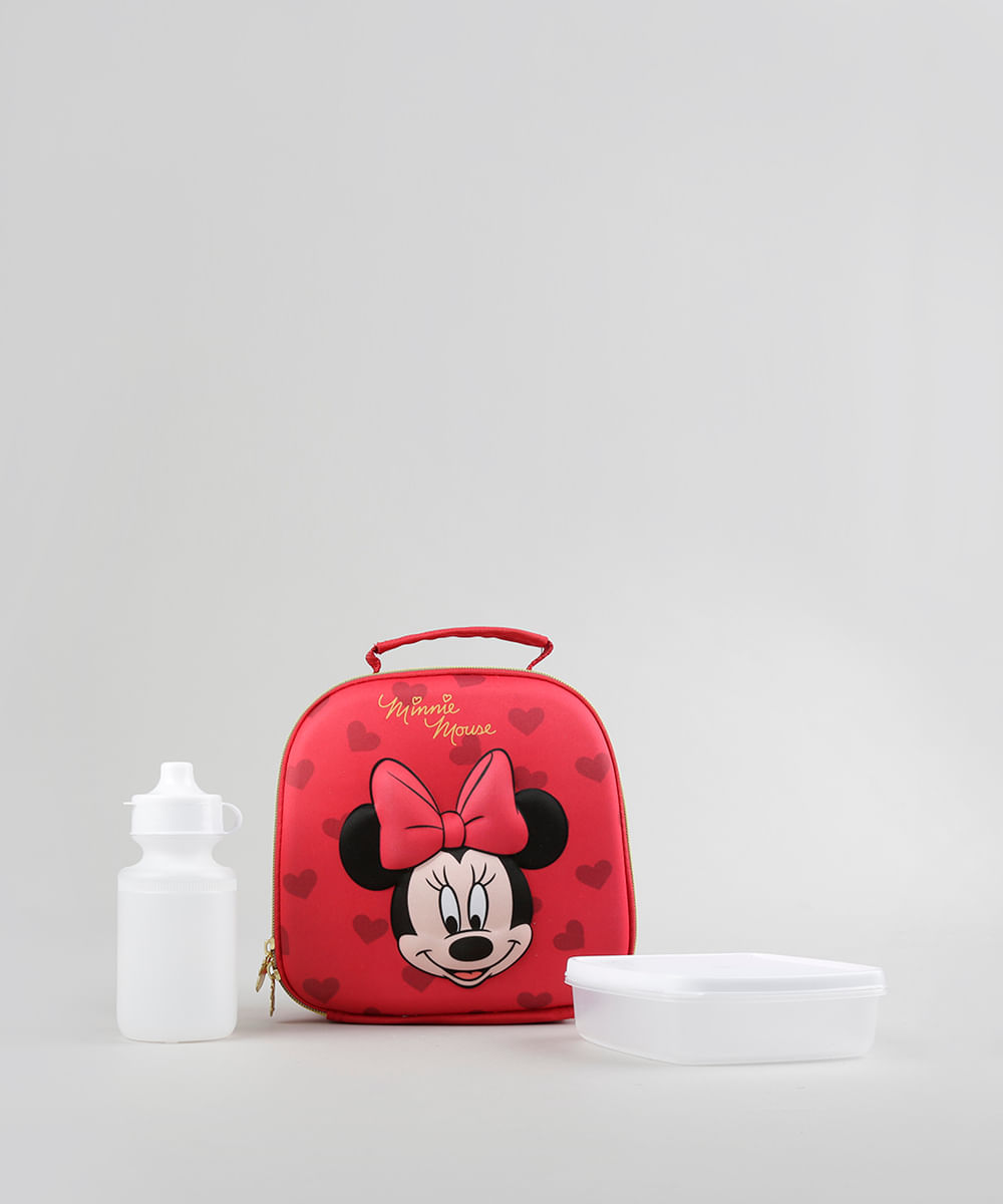 Lancheira Térmica Escolar Infantil Minnie 3D Vermelha - ceacollections 26bf0ed9fe6db