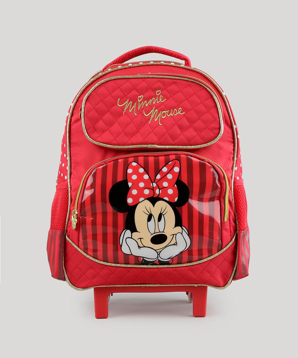5029b483a Mochila Escolar Infantil Minnie com Rodinhas 3D Vermelha - cea