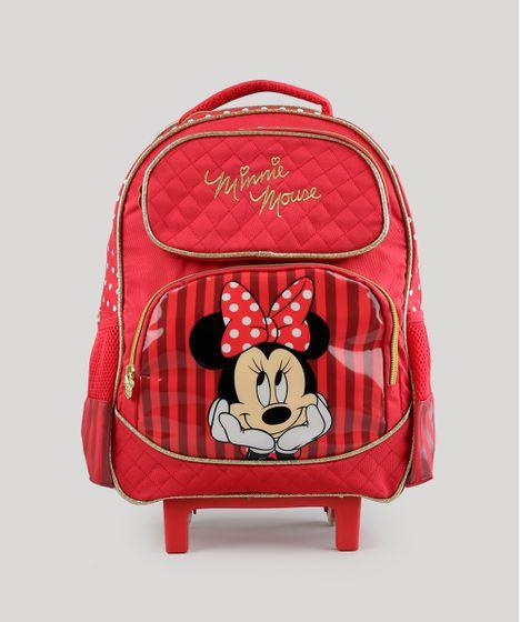 584abfb69 Mochila Escolar Infantil Minnie com Rodinhas 3D Vermelha - cea