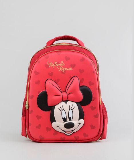 8e148450c Mochila Escolar Infantil Minnie de Costas 3D Vermelha - cea