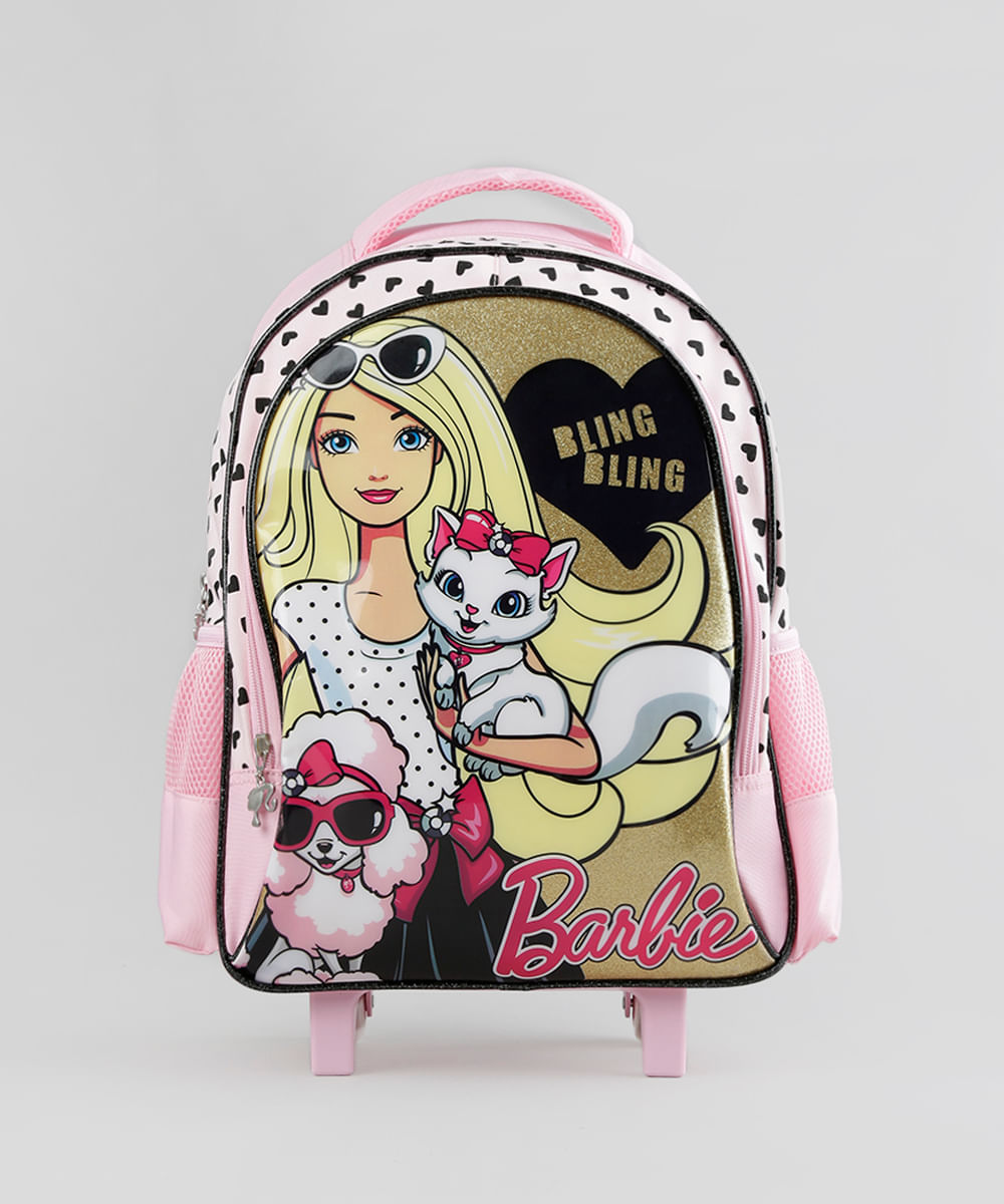 0301b7b43 ... Mochila-Escolar-Infantil-Barbie-com-Rodinhas-Rosa-8744674-