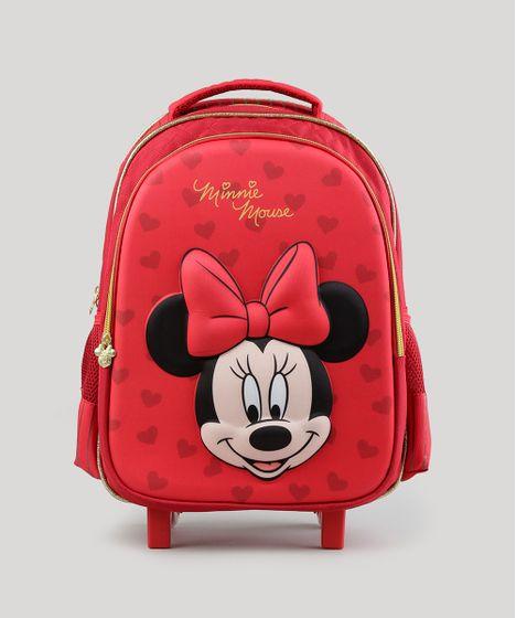 b52ce8e0a Mochila Escolar Infantil Minnie com Rodinhas 3D Vermelha - cea