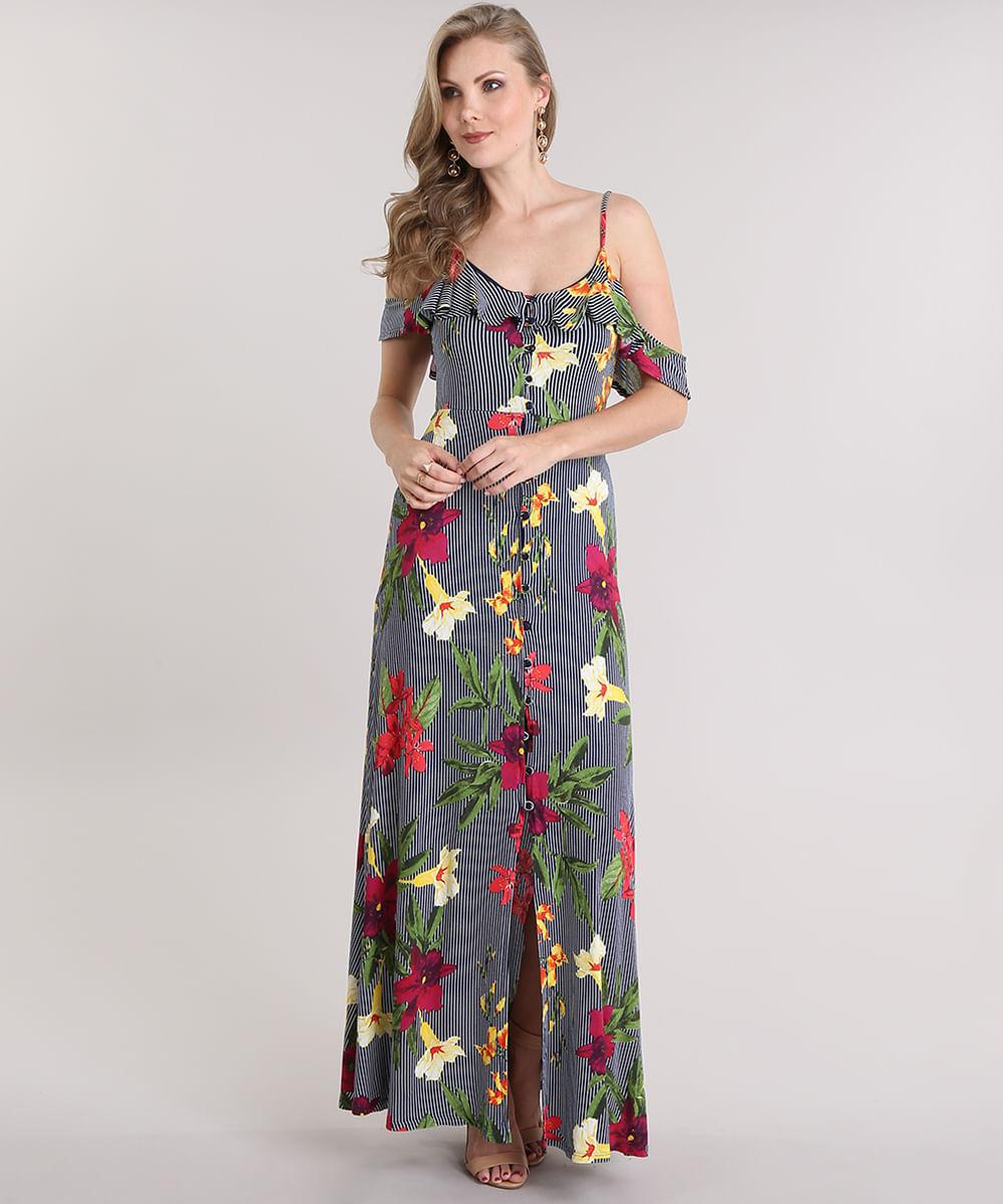 b62d2d833 Vestido Longo Open Shoulder Estampado Floral Azul Marinho - cea