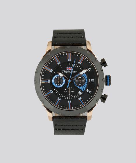 195102f22ca Relógio Analógico Philiph London Masculino - PL80010632M Preto - cea