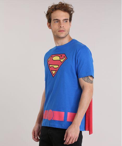 Camiseta-Super-Homem-com-Capa-Azul-8911916-Azul 1 ... b3328ab31c4b4