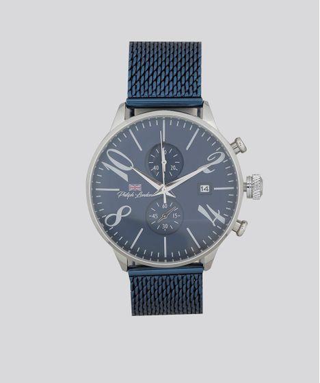 f972fdfbcff Relógio Cronógrafo Philiph London Masculino - PL80025623M Azul ...