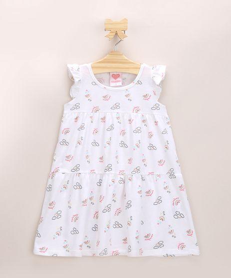Vestido-Infantil-Estampado-de-Arco-Iris-com-Recorte-e-Babados-Manga-Curta-Decote-Redondo-Off-White-9970144-Off_White_1