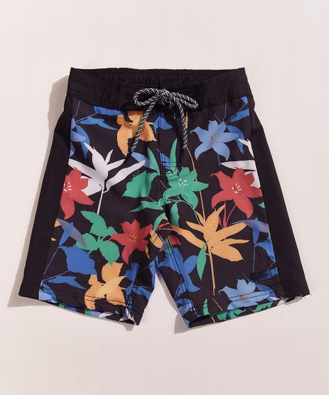 Bermuda-Surf-Infantil-Tal-Pai-Tal-Filho-Pipe-Floral-com-Bolsos-e-Cordao-Preta-9969581-Preto_1
