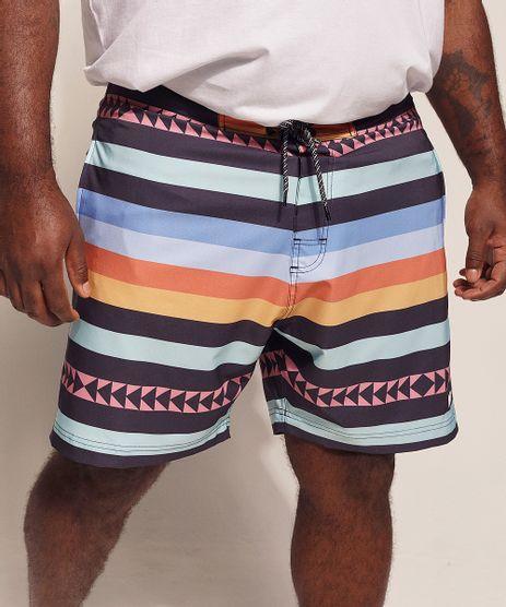 Bermuda-Surf-Masculina-Pipe-Plus-Size-Listrado-Etnico-com-Bolsos-e-Cordao-Multicor-9970203-Multicor_1