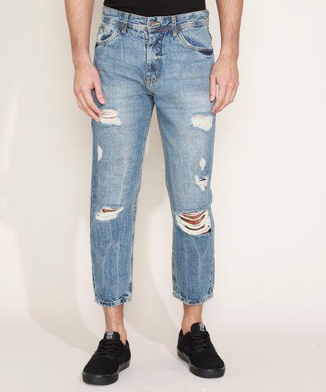 Calca-Jeans-Masculina-Reta-Destroyed-Azul-Medio-9883214-Azul_Medio_1