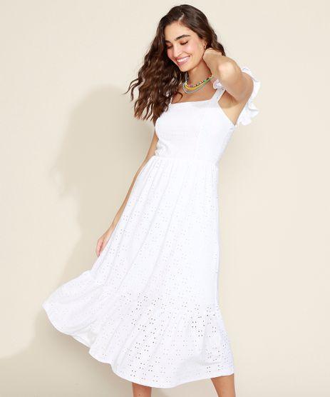 Vestido-de-Laise-Feminino-Midi-com-Babado-Alca-Larga-Branco-9954564-Branco_1