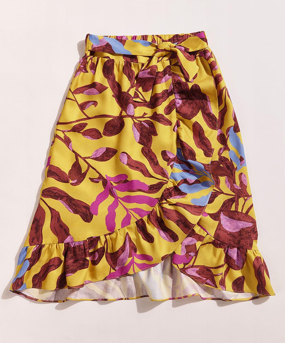 Saia Infantil Kids EMI Beachwear Tal Mãe Tal Filha Midi Estampada Folhagem Meninas com Babados Mostarda