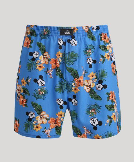 Samba-Cancao-Masculina-Mickey-Estampada-de-Folhagens-Azul-9964091-Azul_1
