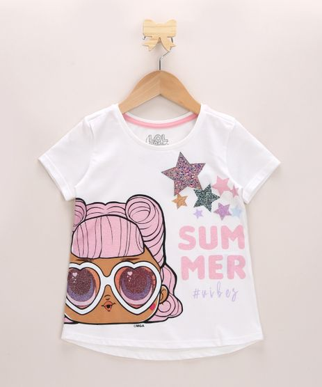 Blusa-Infantil-LOL-Surprise-com-Brilho-Manga-Curta-Decote-Redondo-Off-White-9966021-Off_White_1