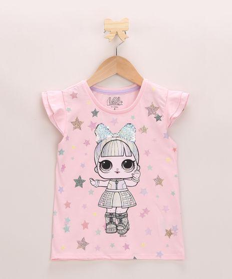 Blusa-Infantil-LOL-Surprise-com-Babado-e-Paete-Manga-Curta-Decote-Redondo-Rosa-9966023-Rosa_1