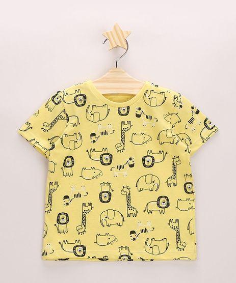 Camiseta-Infantil-Estampado-de-Animais-Manga-Curta-Gola-Careca-Amarela-9963736-Amarelo_1