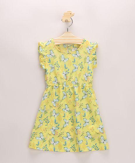 Vestido-Infantil-Estampado-Floral-com-Babados-Manga-Curta-Amarelo-9948373-Amarelo_1