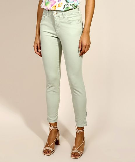 Calca-de-Sarja-Feminina-Super-Skinny-Push-up-Cintura-Media-Verde-Claro-9973911-Verde_Claro_1