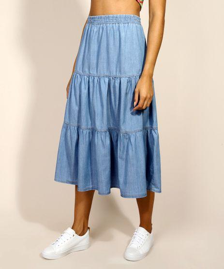 Saia-Jeans-Feminina-Midi-com-Recortes-Azul-Medio-9971153-Azul_Medio_1