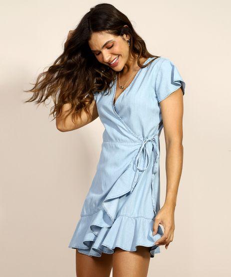 Vestido-Jeans-Feminino-com-Babados-e-Transpasse-Manga-Curta-Decote-V-Azul-Claro-9971575-Azul_Claro_1