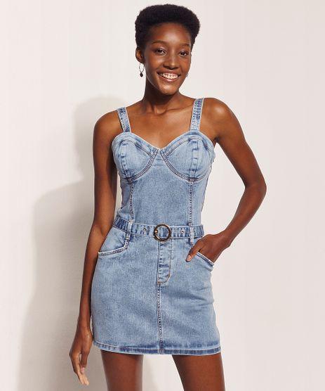 Vestido-Jeans-Feminino-Hype-Beachwear-Curto-Marmorizado-com-Cinto-Alca-Media-Azul-Claro-9972440-Azul_Claro_1