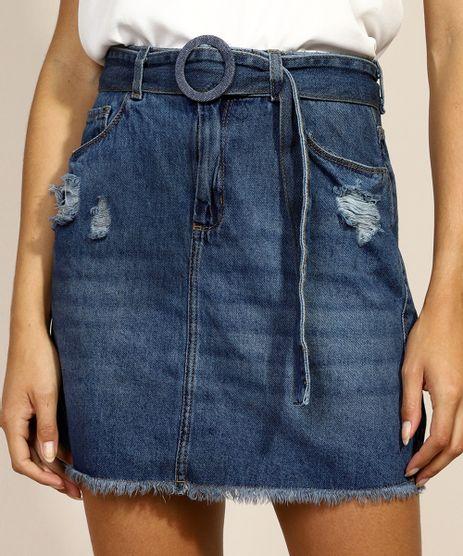 Saia-Jeans-Feminina-Curta-com-Cinto-Destroyed-Azul-Medio-9971595-Azul_Medio_1