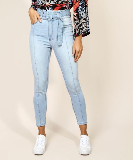 Calca-Jeans-Feminina-Cigarrete-Cintura-Alta-com-Cinto-Azul-Claro-9971604-Azul_Claro_1