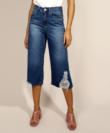 Calca-Jeans-Feminina-Pantacourt-Destroyed-Cintura-Media-Azul-Medio-9971599-Azul_Medio_1