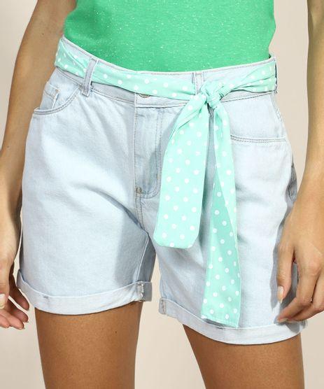 Bermuda-Jeans-Feminina-Cintura-Alta-com-Faixa-para-Amarrar-Azul-Claro-9969115-Azul_Claro_1