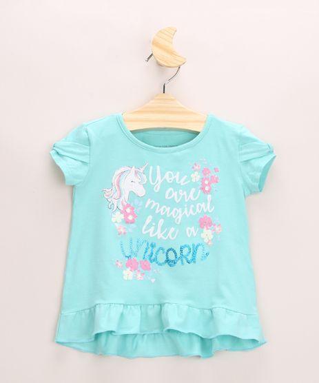 Blusa-Infantil-Unicornio--You-Are-Magical--com-Babado-Manga-Curta-Decote-Redondo-Verde-9955742-Verde_1