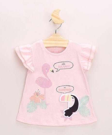 Blusa-Infantil-Tucano-e-Flamingo-com-Brilho-e-Babados-Manga-Curta-Decote-Redondo-Rosa-9967467-Rosa_1