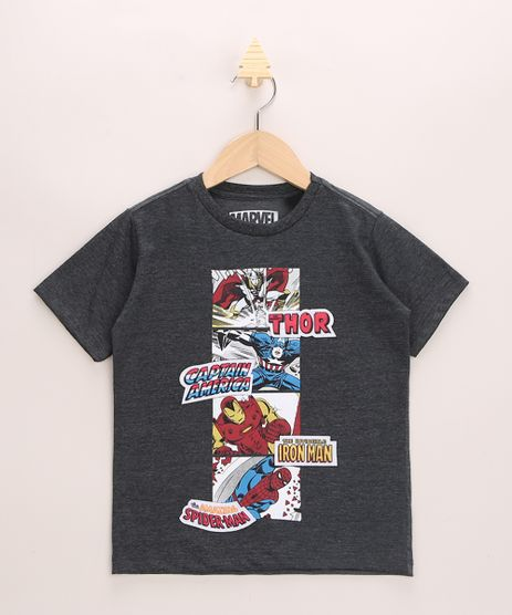 Camiseta-Infantil-Os-Vingadores-Manga-Curta-Gola-Careca-Cinza-Mescla-Escuro-9968332-Cinza_Mescla_Escuro_1