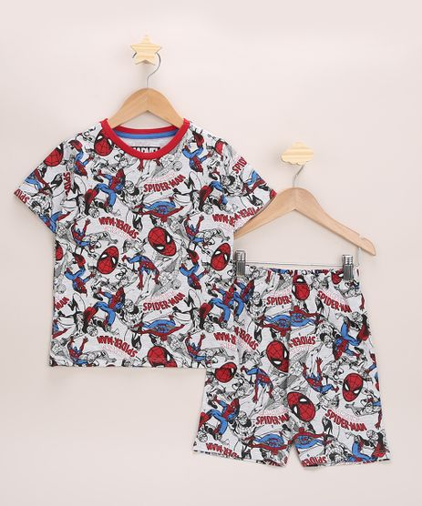 Pijama-Infantil-Homem-Aranha-Estampado-Manga-Curta-Cinza-Claro-9963719-Cinza_Claro_1