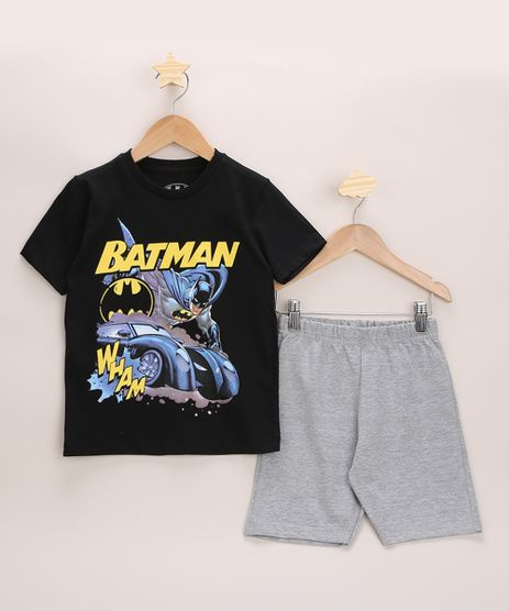 Conjunto-Infantil-de-Camiseta-Batman-Preta---Bermuda-em-Moletom-Cinza-Mescla-Claro-9968182-Cinza_Mescla_Claro_1