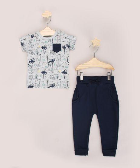 Conjunto-Infantil-de-Camiseta-Estampado-de-Bichos-Cinza-Mescla---Calca-em-Moletom-Azul-Marinho-9968229-Azul_Marinho_1
